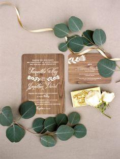 Wooden inspired wedding invitations: http://www.stylemepretty.com/2014/04/04/mint-blue-whimsical-garden-wedding/ | Photography: Whitney Neal - http://www.whitneynealphoto.com/