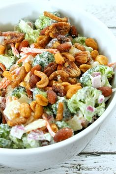 This turned out DELISH with the seasoned nuts!! It is not your typical Thanksgiving or Christmas side dish but I am happy to have a YUMMY broccoli and apple salad with seasoned nuts on my plate! The seasoned nuts makes it feel like a treat, yet it is still a smart choice! #GoNutsForNuts #CollectiveBias #ad