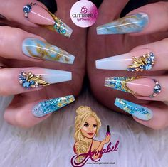 ⚜️💎Ocean Breeze💎⚜️ For this set I used :- Glitterbels Acrylic System :- Clear Monomer Glass Slippers Peacherbel Cover Liquid Gold(coming… Bling Acrylic Nails, Summer Acrylic Nails, Glam Nails, Best Acrylic Nails, Bling Nails, Acrylic Nail Designs, Beauty Nails, Gorgeous Nails, Fabulous Nails