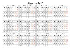 2016 calendar printable one page