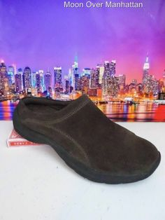 Womens shoes LANDS END 83321 brn suede slip on Original All Weather Mocs sz 9 B #LandsEnd #LoafersMoccasins