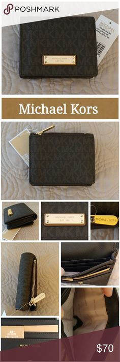 """NWT Michael Kors Card Case w/RFID This essential Jet Set card case is designed in signature print and features a gold-tone logo plaque. Its compact size will easily slip into a clutch or coat pocket and has enough room to stow an ID, cards and cash.  -Brown -Coated Twill? -Lining: 100% Polyester? -Gold-Tone Hardware? -Exterior: Back Zip Compartment? -Interior: Bill Pocket, Mult Slit Pockets, Window Pocket, Open Compartment -4.5""""W X 3.75""""L X 1.25""""D? -RFID protection Excellent condition…"""
