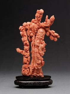 A Very Fine Carved Coral Shoulao清 红珊瑚提篮观音 ✖️Fosterginger.Pinterest.Com✖️No Pin Limits✖️More Pins Like This One At FOSTERGINGER @ Pinterest✖️