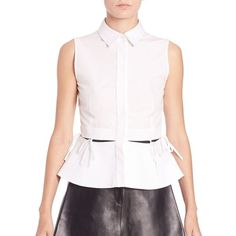 Alexander Wang Peplum Tie Blouse ($550) ❤ liked on Polyvore featuring tops, blouses, apparel & accessories, silica, sleeveless blouse, cotton blouse, white blouse, tie blouse and peplum tops
