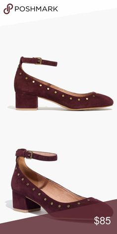 Madewell Chunky Heel Shoe Brand new in the original box. Madewell block heel suede shoe in Maroon with brass detailing. Gorgeous! Madewell Shoes