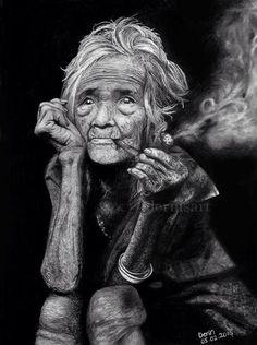 Derinsart, Old Lady With Her Pipe. Original artwork