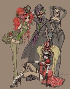 LOVE LOVE LOVE. Pin-up style Batman girlies!