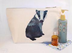 #Badger Canvas Wash Bag Large Zipper Pouch Makeup Bag Toiletry Bag Accessory Bag Ceridwen Hazelchild Design