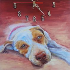 Dog portrait painted on the clock.