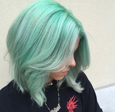 Short mint green hair and ready for summer.
