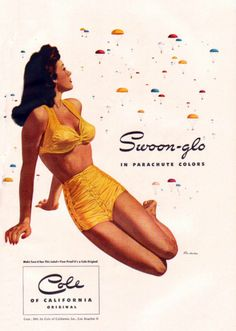 Swoon-glo in parachute colours - Cole swimsuit ad, 1945. #vintage #1940s #summer #fashion #ads