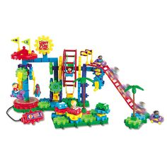 Gears Gears Dizzy Fun Land - What's more fun than going to the fairground? Building your own! This set features an exciting colourful fairground with a merry-go-round, a big wheel, bumper cars and a roller coaster!