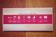 Pour être organisé, le déroulement du jour J en frise chronologique donné aux invités