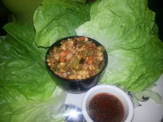 LETTUCE WRAPS  Kona Grill Restaurant Copycat Recipe   1 cup teriyaki sauce  1/3 cup sweet chili sauce  1/4 cup soy sauce  1 tablespoon fr...