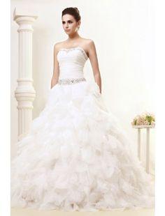 Ball Gown Strapless Ruffles Organza Luxurious Wedding Dress with Beading