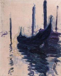 Gondola in Venice, 'Gondole à Venise' - Claude Monet,1908  Musée des Beaux-Arts de Nantes, France. www.museedesbeauxarts.nantes.fr   http://www.the-athenaeum.org/art/full.php?ID=3975