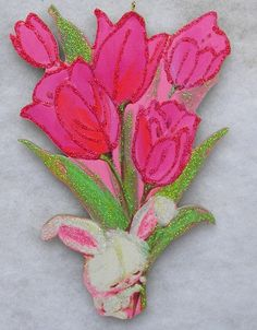 Bunny Bouquet Tulips Vtg Easter Greeting Card Glittered Wood Christmas Ornament