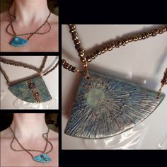 Impasto Polymer Clay on silk dyed polymer - reversible asymmetrical necklace by Create My World Designs