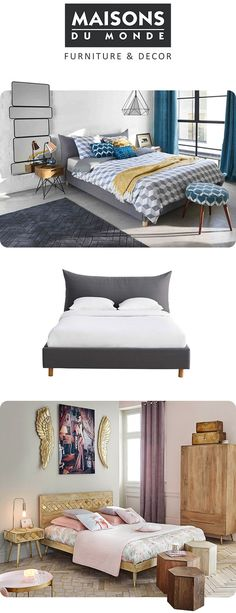Beautiful bedrooms from Maisons Du Monde. From bold graphic prints and geometric pendant lights to luxe metallics and soft pink bedrooms. Create your universe at Maisons Du Monde.