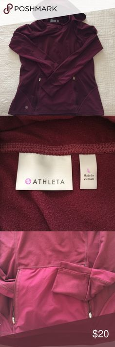 Athleta Plush Tech hoodie Hoodie is semi-fitted with brushed fleece + stretch panels that keep you warm and move with you.  Fully zippered front pocket. Athleta Tops Sweatshirts & Hoodies