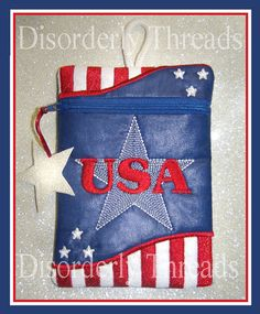 USA Zippered Bag  July 4 America   SIZE6x8.5 by DisorderlyThreads, $9.00