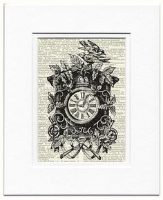 cuckoo clock  vintage artwork printed on page from old by FauxKiss