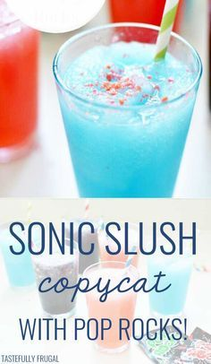 Sonic Slush with Pop Rocks copycat! How to make a slushie like the ones at Sonic Drive In - the perfect COLD summer treat! Rock Recipes, Jello Recipes, Copycat Recipes, Smoothie Recipes, Smoothies, Slush Recipes, Alcohol Recipes, Delicious Recipes, Recipies