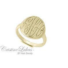 Hand Engraved Monogrammed Initials Ring in Karat by CristineLukas, $39.00