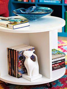 diy ottomans   build a circular bookshelf storage ottoman, BHG