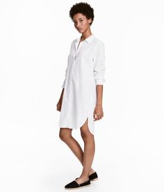 Check this out! Long, straight-cut shirt in woven fabric made from a linen and cotton blend. Rounded hem. Slits at sides. - Visit hm.com to see more.