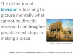 Studio Thinking Habit of Mind Envision Artwork or Art from