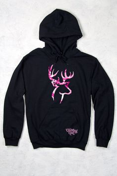 Country Girl® Pink Camo Deer Logo Relaxed Pullover Hoodie