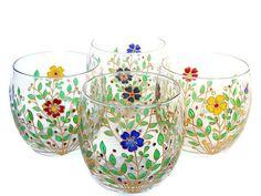 Set of 4 Flowers Glasses Everyday Drinking por StainedGlassHandmade