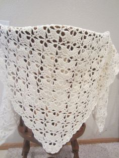Beautiful White Triangle Shawl  With Touch Of Sparkle  Delicate Elegant  Lace Summer  Wrap Capalet  Stole