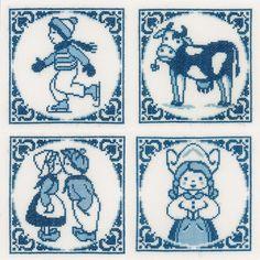 Borduurpakket Klassieke Delfts blauwe tegeltjes - Lanarte   Borduurpakkettenwinkel