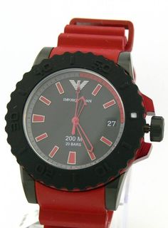 New Emporio Armani Watch AR6101 Mens Acqua Sportivo Red Bracelet 200 M/20 Bars #EmporioArmani #Sportfashion