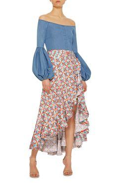 Gisele Dropped Peasant Style Long Sleeve Blouse by CAROLINE CONSTAS Now Available on Moda Operandi