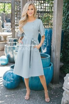 Dusty Sage Ribbon Tie Button Detail Sundress, Modest Dress Bridesmaids Dress, Church Dresses, dresses for church, modest bridesmaids dresses, trendy modest dresses, modest womens clothing, affordable boutique dresses, cute modest dresses