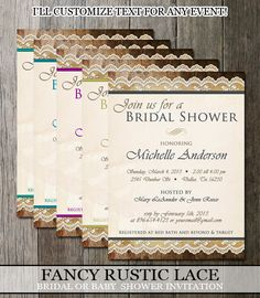 Bridal Shower Rustic Fancy Lace Burlap and Wood  Invitation - Various colors - Digital Printable File $12.50 Via Etsy #bridalshower #rusticlace #weddings
