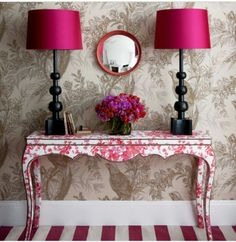 Shades of Magenta!!! Bebe'!!! Loved the Lampshades and the Striped Floor!!!