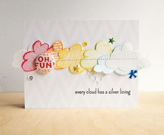 Jocelyn Olson: Red Balloon Cards - Every Cloud... - 8/26/14 (Neat & Tangled stamps: Clouds)