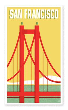 Travel Poster – San Francisco Vintage-style travel poster for San Francisco.