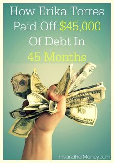 Find out how one family paid off $45,000 of debt in 45 months! The most amazing part of their story, is that they were not earning a high income during their debt free journey. Debt Free Stories #debt Debt Payoff