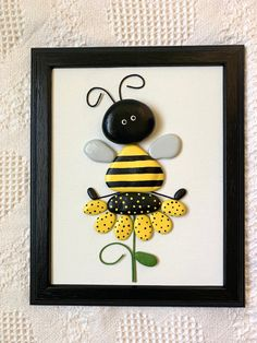 Bee decor, bumble bee stone art, bee wall hanging, nursery decor, baby shower gift, pediatric office decor, bee-lover gift, unique bee gift