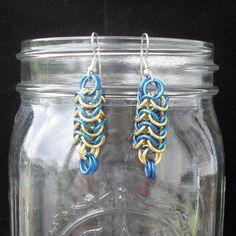 Kestutis - Blue and Gold Roundmaille Earrings. $10.00, via Etsy.