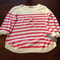 White sweater with pink stripes 100% cotton NY Collection Sweaters Crew & Scoop Necks