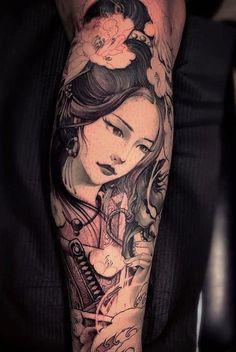 Geisha Tattoos, Geisha Tattoo For Men, Geisha Tattoo Sleeve, Geisha Tattoo Design, Japanese Tattoo Designs, Japanese Tattoo Art, Japanese Sleeve Tattoos, Full Sleeve Tattoos, Tattoo Designs For Women