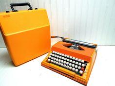 SALE Vintage Typewriter Orange Sears Chevron by GoodBonesVintageCo, $230.00 -- was $270 freshly repaired. no typing sample