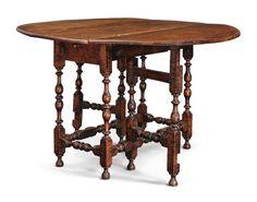 WILLIAM AND MARY FIGURED MAPLE GATELEG TABLE, RHODE ISLAND, CIRCA 1715 |