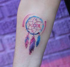 Colorful dreamcatcher tattoo by Georgia Grey